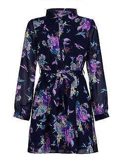 Purple Bird Printed Long Sleeve Shirt Dress