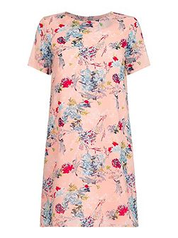 Pink Short Sleeve Dress With Floral Print