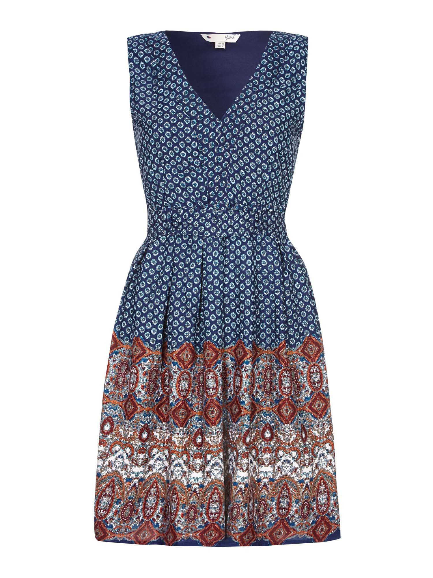 Yumi Digital Printed Boarder Dress, Blue