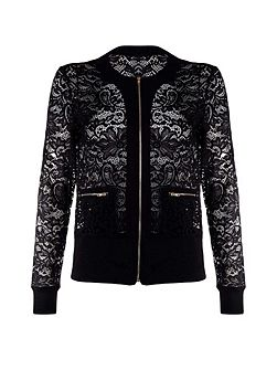 Lace Collarless Bomber Jacket