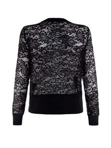 Mela London Lace Collarless Bomber Jacket