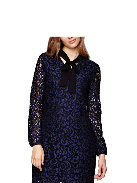 Yumi Navy Floral Lace Pussy Bow Dress