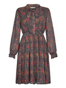 Yumi Navy Floral Print Pleated Dress