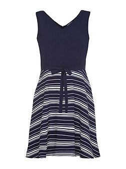 Navy Stripe Print Sleeveless Dress