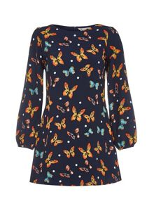 Yumi Navy Shift Dress With Butterfly Spot Print