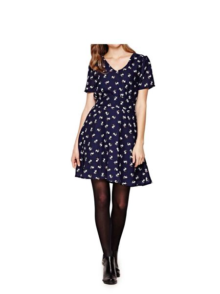 Yumi Navy Pug Printed Dress