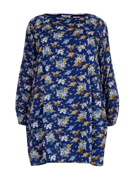 Yumi Curves Yumi Curves Floral Print Cold Shoulder Dress