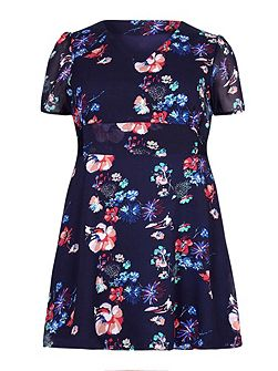 Yumi Curves Floral Print Lace Detail Dress