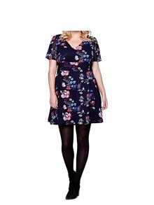 Yumi Curves Yumi Curves Floral Print Lace Detail Dress