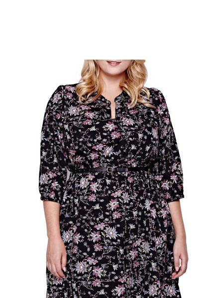 Yumi Curves  Curves Floral Printed Dress