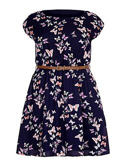 Yumi Curves Butterfly Print Belt Dress