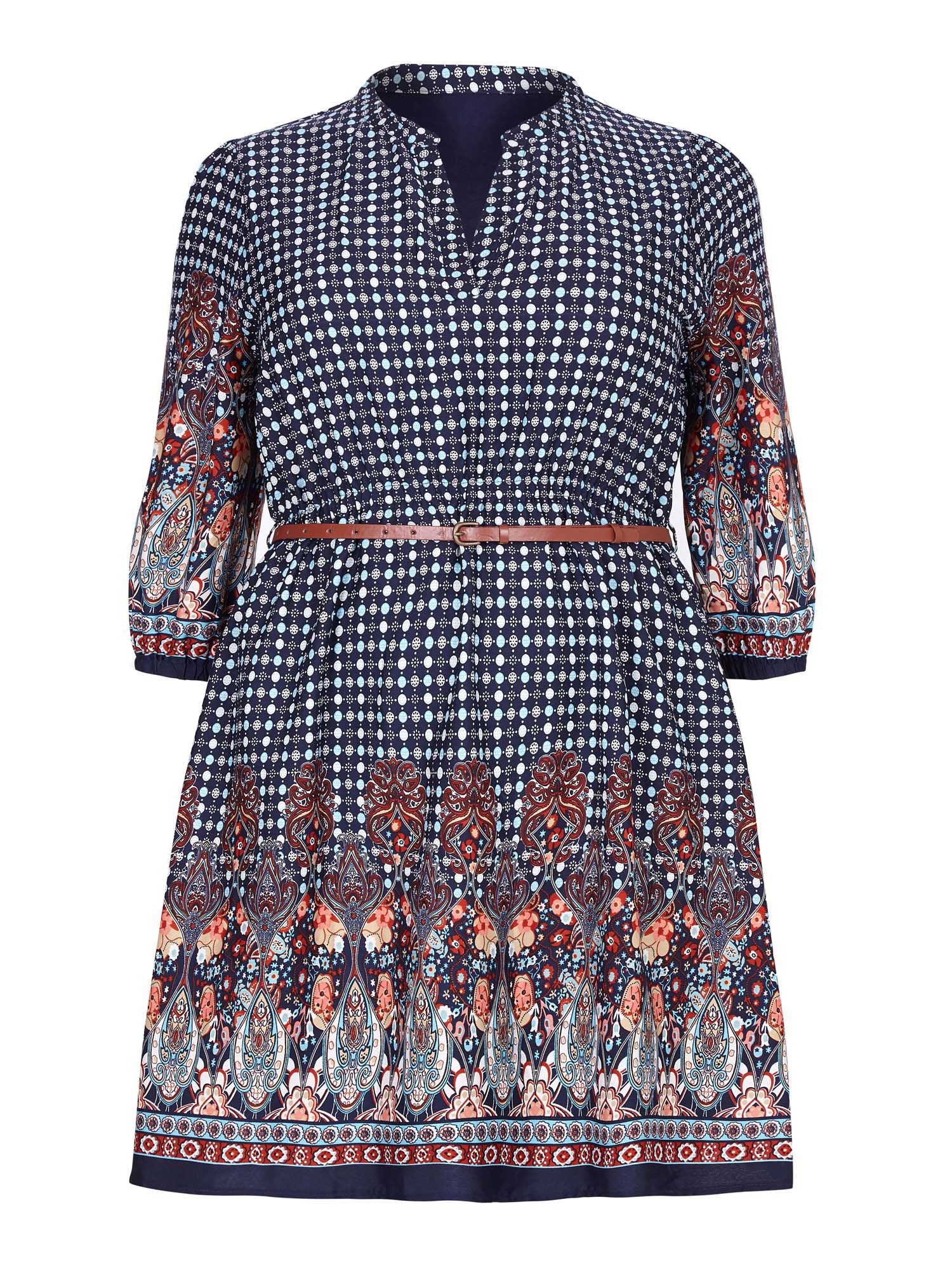 Yumi Curves Yumi Curves Yumi Curves Belted Dress With Tile Print, Navy
