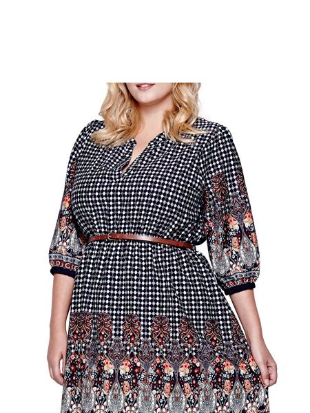 Yumi Curves Yumi Curves Belted Dress With Tile Print