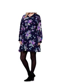 Yumi Curves Curves Bird Printed Long Sleeve Shirt Dress