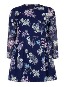 Yumi Curves Yumi Curves Floral Print Dress With Long Sleeves