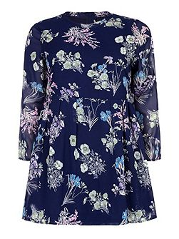 Yumi Curves Floral Print Dress With Long Sleeves