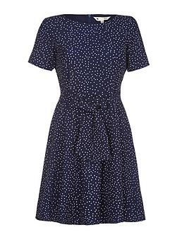 Navy Short Sleeve Spotted Dress