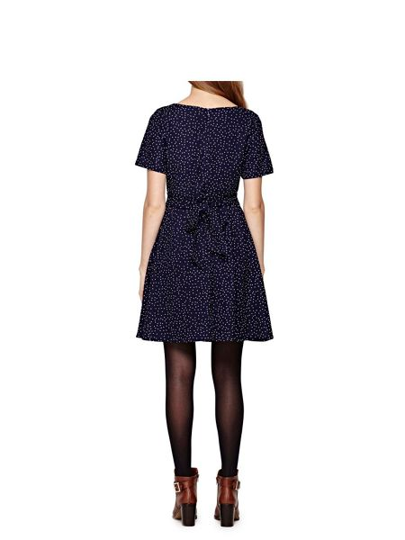 Yumi Navy Short Sleeve Spotted Dress