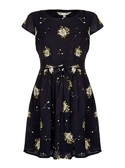 Black Flower Print Skater Dress