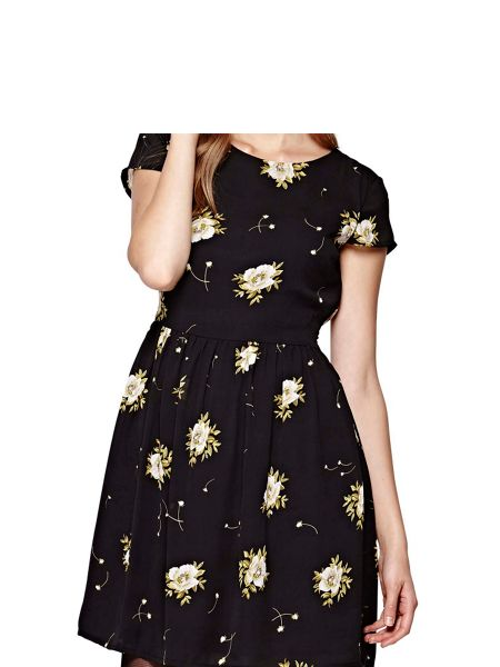 Yumi Black Flower Print Skater Dress