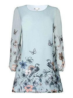 Floral Print Georgette Tunic Dress