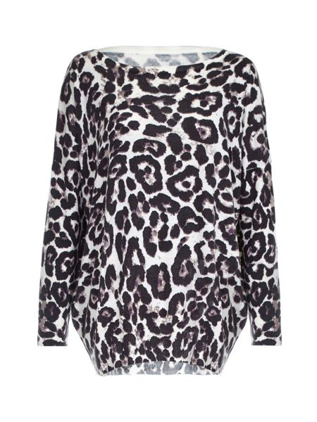 Mela London Leopard Printed Oversized Jumper