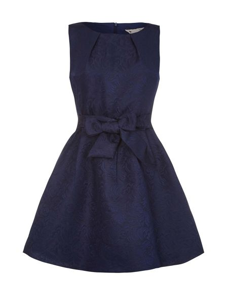 Yumi Navy Floral Textured Dress