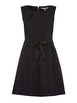 Black Sleeveless Dress With Pinstripes