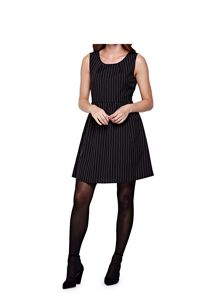 Yumi Black Sleeveless Dress With Pinstripes
