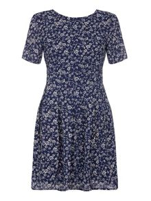Yumi Navy Day Dress With Ditsy Floral Print