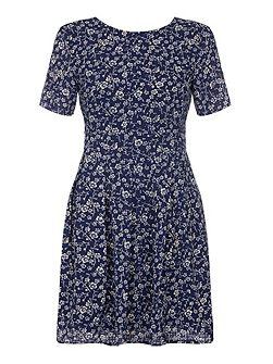 Navy Day Dress With Ditsy Floral Print