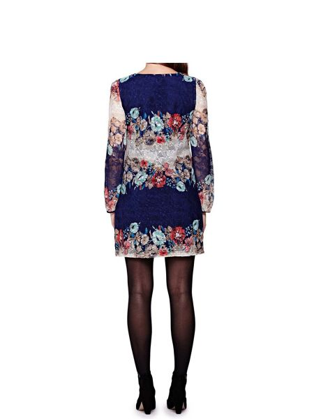Yumi Floral Lace Long Sleeve Shift Dress