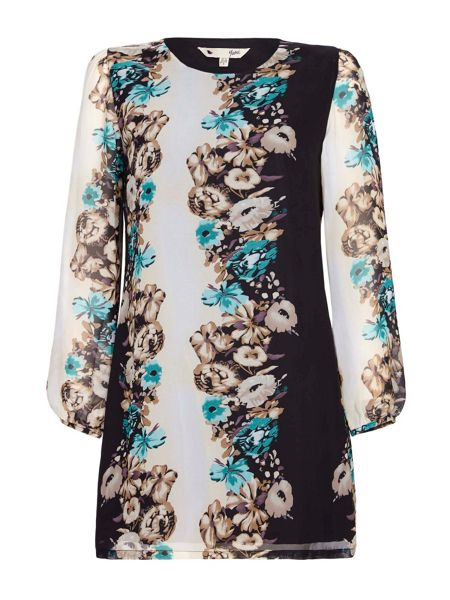 Yumi Black Floral Tunic Dress With Long Sleeves