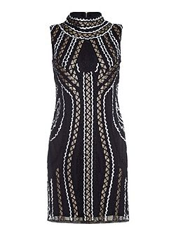 Black High Neck Dress With Sequins