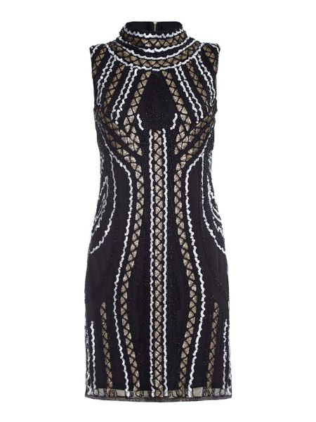 Mela London Black High Neck Dress With Sequins