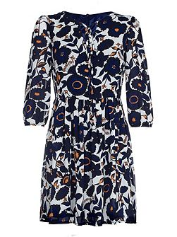 Navy Floral Printed Tunic Dress