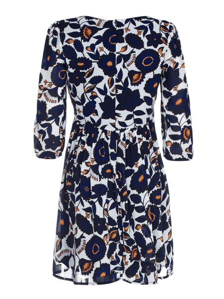 Mela London Navy Floral Printed Tunic Dress
