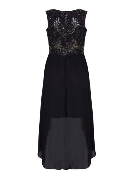 Yumi Black Sequinned Flower Occasion Dress