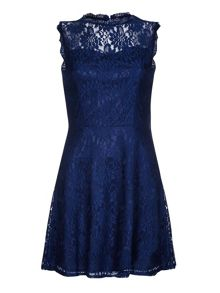Yumi Navy Skater Dress With Floral Lace