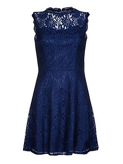 Navy Skater Dress With Floral Lace