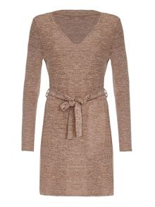 Mela London Beige Belted Knit Dress With Long Sleeves
