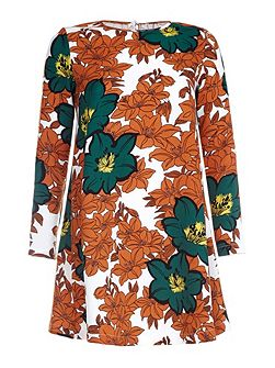Autumn Leaf Printed Shift Dress