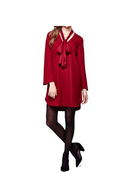 Mela London Burgundy Shift Dress With Pussy Bow