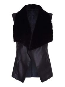 Mela London Faux Leather Fur Combo Gilet