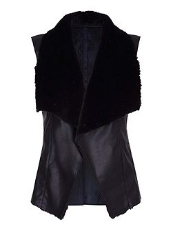 Faux Leather Fur Combo Gilet