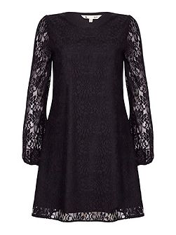 Black Shift Dress With Floral Lace