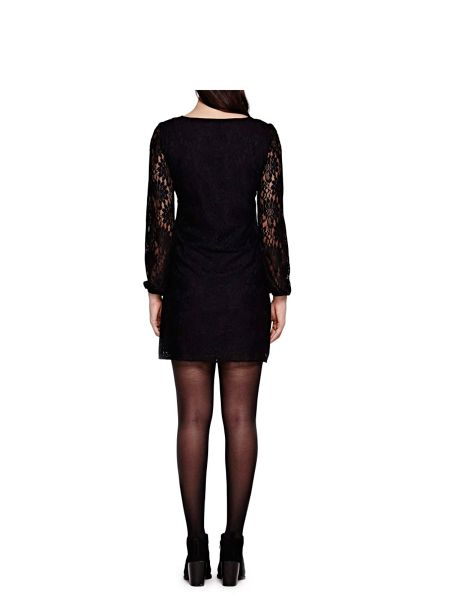 Yumi Black Shift Dress With Floral Lace