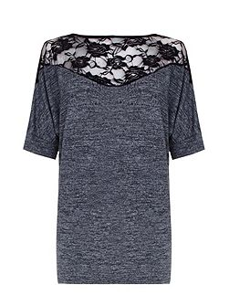 Grey Batwing Jumper With Lace Detail