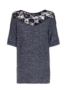 Mela London Grey Batwing Jumper With Lace Detail