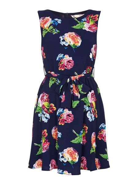 Yumi Navy Rose Printed Dress